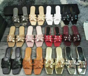 Patent Deri Kadın Düz Sandalet Intertwining Sapanlar Yaz Terlik Plaj Slaytlar Lady Casual Katırlar Ayakkabı Kutusu Ile Çevirme