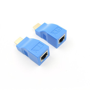 2pcs 1080P HDMI Extender to RJ45 Over Cat 5e 6 Network LAN Ethernet Adapter BlueComputer HDTV Laptop in audio video Cable