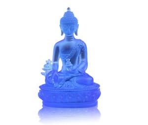 Großhandel Günstige Weihe Medizin Buddha Blaue Farbe Harz Statue Buddhismus Dekoration Handwerk