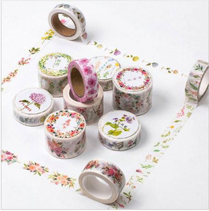 12 Styles Flower Bordi Washi Tape Paper Cute Floral Printed Nastro adesivo decorativo decorativo DIY Scrapbooking nastro decorativo 2016