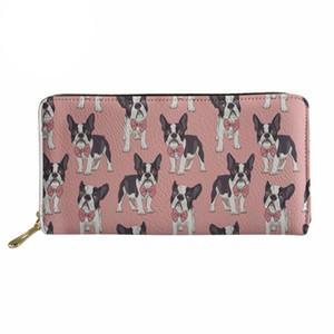 Noisydesigns Portafoglio Boston Terrier Stampa 3D Portafogli donna Borsa lunga Donna Kawaii Florals Tasca per borsa denaro donna