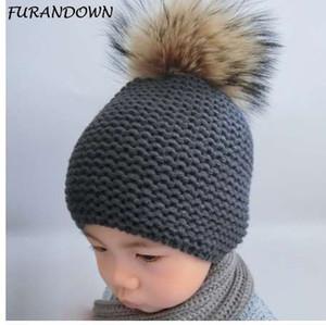 FURANDOWN зимняя шапка детские дети Енот мех помпон шляпы мальчик и девочки теплый