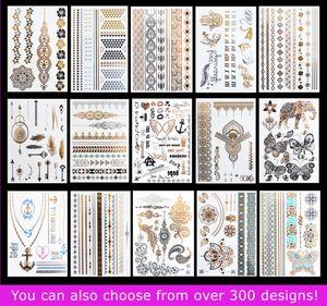 15 pçs / lote Temporária À Prova D 'Água Flash Tatuagens Não-tóxico Tatuagem Metálica Venda Quente Mulheres Tatuagem Jóias E Corpo Tatuagem!