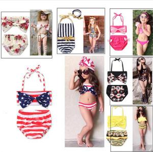 Çocuk kız Mayo Çiçek baskılı Toddler Bebek iki parçalı yüzme suit yaz çizgili beachwear Mayo Bikini Tankini Mayo SET yeni