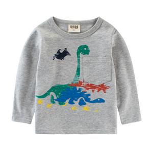2018 outono outono menino de algodão crianças bobo bebe roupas bebê dinossauro camiseta crianças roupas dos desenhos animados top tee t-shirt 2-8y sweatsuit