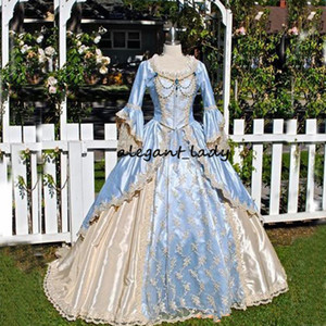 Vintage Victorian Wedding Dress Medieval Gothid Bridal Gown Champagne Light Sky Blue Long Bell Sleeves Appliques Scoop Neck wedding gown