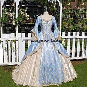 Vintage Victorian Robe de mariée médiévale Gothid Bridal Robe Champagne Ciel Sky Bleu Long Bell Manches Appliques Robe de mariée au cou