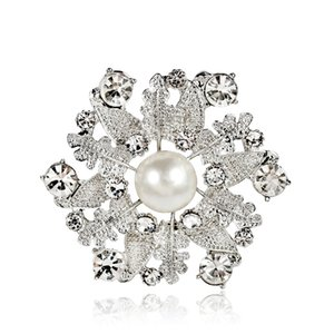 Women Boutique Brooches, White Pearl Alloy Leaf Crystal Pins Lady Party Jewelry Brooch 12PCS Free Shipping