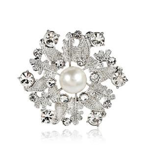Spille del boutique delle donne, spilla di cristallo bianca 12PCS dei monili del partito della signora dei perni della foglia della lega della perla bianca Trasporto libero