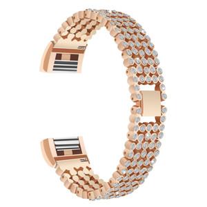 Para Fitbit Charge 2 HR Bandas, Metal substituição inoxidável com Strass Cristal Jóias Ajustável Diamond Strap Bracelet Watch Band para Fi