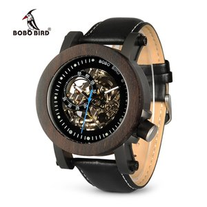 BOBO BIRD Wood Watch Men Vintage Bronze Skeleton Male Antique Steampunk Automatic Mechanical Watches relogio masculino W-K10 D18101002