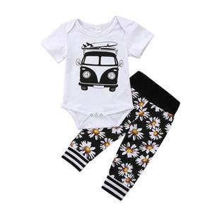 Nouveau-né Bébé Garçon Fille Fleur Romper Tenues Top + Pantalon 2-pièces Garçons Filles Vêtements tout-petits enfants Vêtements Boutique en gros des produits