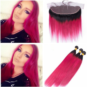 Перуанский Ombre розовый человеческих волос ткать пучки с фронтальной два тона 1b / ярко-розовый Ombre волос ткет с полным кружева фронтальная закрытие 13x4