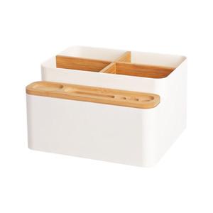 Desk Multi-funcional Organizador plástico Caixa de armazenamento com bambu Compartimento para Home Office Papelaria Cosméticos Escovas
