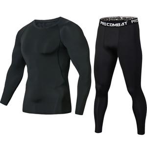 Os mais recentes Pure Black aptidão Compressão Define Camiseta Homens Long mangas MMA Crossfit camisa do músculo Leggings base de camada Set apertado