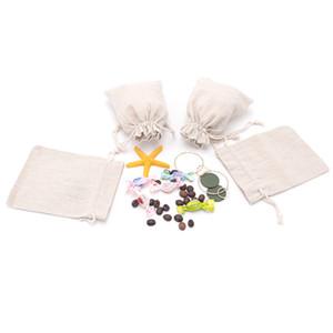 50pcs / lot 10x14cm Wedding Party Jóias Muslin Chama-capazes Natural Color presente Algodão Embalagem Pouch Coisa pequena moeda de armazenamento cordão Bag