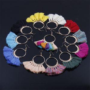 17 цвета микс хлопок кисточкой серьги для женщин заявление окантовки серьги девушки мотаться серьги СД