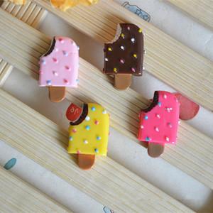 200 pçs / lote kawaii resina ice cream artesanato flatback cabochon diy para deco hair bow acessórios phone case decoração