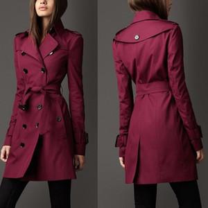 Estilo occidental de la primavera del otoño de las mujeres gabardina con doble botonadura solapa delgada Outwear Tops largos Wind Dust Coat caqui negro C3297