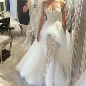 Luxus Beading Modest Brautkleider mit Ärmeln Rüschen Schichten Rock Land Brautkleider Religiöse Brautkleider Couture