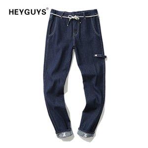 HEYGUYS Hosen Männer Hip Hop Streetwear neue Design feste Jeans voller Länge Bleistift Jeans