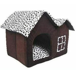 Color café caliente Casa de Perro Nueva 2018 PP Cama Plegable de Algodón Para Perro Casa de Perro Grande Con Estera Mascotas Producto Casa de los gatos Casa forma