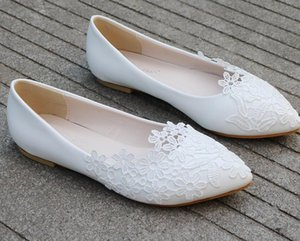Hot Selling White Flats Lace Wedding Shoes Pointed Toe Ballet Flats Bridal Shoe for Wedding Pregnant Shoes