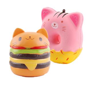 Squishy Cat Head Burger Doughnut Simulation Cat visage Expression Burger vent soulager la pression lente rebond PU jouets DHL livraison gratuite
