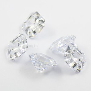 free shipping 10pcs lot 8.5mmX8.5mm cubic zirconia simulated diamond asscher cut loose gem stones