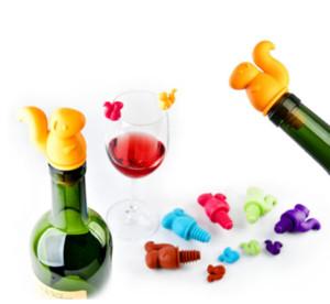 صديقة للبيئة 6 +1 جهاز كمبيوتر شخصى / مجموعة سيليكون النبيذ السنجاب النبيذ سدادة زجاجة البيرة البدلة كورك التوصيل غطاء زجاجة المطبخ بار أداة لون عشوائي