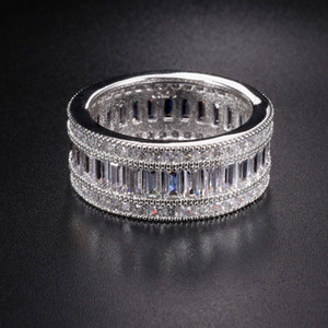 Párrafo de lujo de moda plata de ley 925 anillo de piedras preciosas brillante cuadrado lleno simulado anillos de diamantes dedo para mujer regalo S18101001