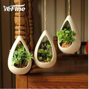 YeFine cerámica colgando macetas creativas bonsai macetas colgantes macetas con plantas artificiales decoración para el hogar y la oficina