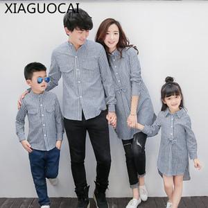 XiaGuoCai семьи соответствующие наряды мать и дочь повседневная клетчатая рубашка блузка отец и сын рубашка весна осень семья l61 35