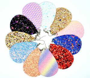 Spedizione gratuita 11Color Paillettes Orecchini in pelle a goccia Faux Leather Water Drop Ear BOHO