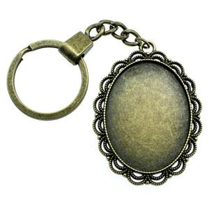 6 Pieces Key Chain Women Key Rings Couple Keychain For Keys Flower Single Side Inner Size 30x40mm Oval Cabochon Cameo Base Tray Bezel Blank