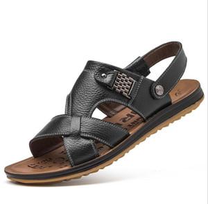 2018 Лето большой размер мужские сандалии британская мода натуральная кожа пляжная обувь мужская повседневная массаж нескользящей большие тапочки квартиры