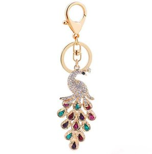 New Crystal Peacock Keychain Key Rings Women Bags Pendant Accessories car jewelry Happy New Year gift