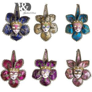 HD 6 Teile / satz Mini Maske Venezianischen Maskerade Party Geschenk Halloween Dekoration Hochzeit Gunsten Neuheit Party Favors