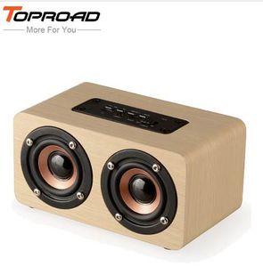TOPROAD Беспроводной bluetooth динамик древесины портативный аудио HiFi домашний кинотеатр звук приемник стерео музыка сабвуфер компьютерные колонки