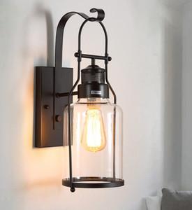 Estilo americano de vidrio vintage industrial luces de pared luces de baño dormitorio luz led luces de pared para el hogar decoración industrial lámpara LLFA