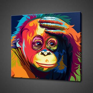 """Incorniciato, Rx042 # """"Animal ORANGUTAN POP ART"""" dipinta a mano moderna pittura a olio di arte astratta moderna, su tela di alta qualità, decorazione della parete di casa, dimensioni multiple"""