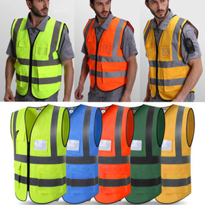 Neue Männer Schutz Hi-Vis Sicherheitsweste Mantel Reißverschluss Reflektierende Arbeit Sicherheit Weste Warp Strick Tuch Größe L-2XL