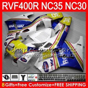 VFR400R Para HONDA NC35 V4 RVF400R 1989 1990 1991 1992 1993 82HM71 RVF VFR 400R NC30 VFR 400R VFR400 R 89 90 91 92 93 Carenados Rothmans blanco