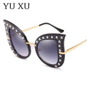Personalidad de la moda Perla de moda Studs Gafas de sol de ojo de gato Gafas de sol de marco grande Diamante Señora Ojos de gato Gradiente Gafas de sol H62