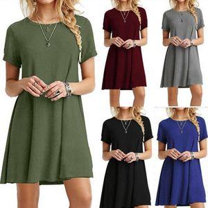 Women's summer sexy short sleeve solid color loose O-neck cotton T-shirt dress ladies A-line mini ruffles beach dress tops S-5XL
