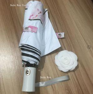 Patrón de flores de estilo C de Londres Paraguas para mujeres clásicas Logotipo vintage Automático, paraguas abierto y cerrado para lluvia o sombrilla con caja de regalo