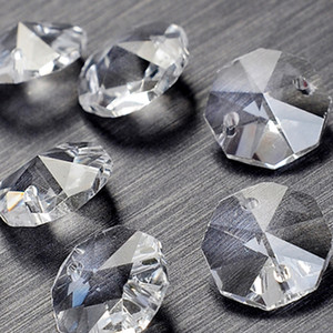 A granel 100 Unids / lote 14mm 2 agujeros Cristal Octagon Bead Prism Chandelier Crystal