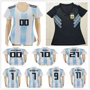 Maglie calcio donna Argentina 10 MESSI MARADONA 20 KUN AGUERO 21 DYBALA 6 BIGLIA 9 ICARDI BENEDETTO Personalizzate Maglie da calcio bianche da donna