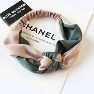 Nova Moda Simples Cruz Arco Patchwork Mulheres Elegantes Elastic Headband Titular Cabelo Ornamento Bandanas Acessórios Para o Cabelo Hairbands