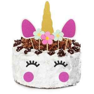 1set Unicorn Party CupcakeTopper 핑크 Unicornio 추천 소품 첫 번째 1 생일 케이크 장식 Eenhoorn 파티 부탁 용품